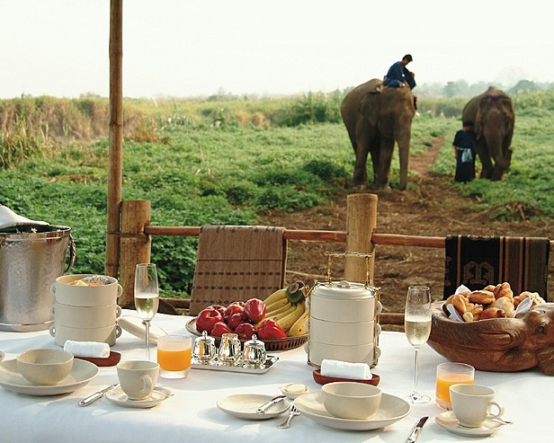 Four Seasons Tented Camp Golden Triangle, Thailand > Breakfast set up at elephant training grounds