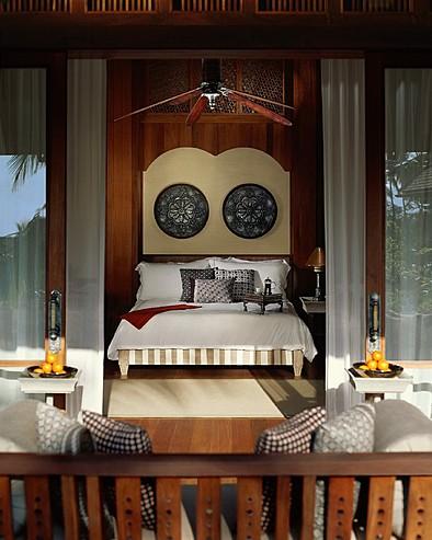 Four Seasons Resort Langkawi, Malaysia > Melaleuca pavilion bedroom detail.